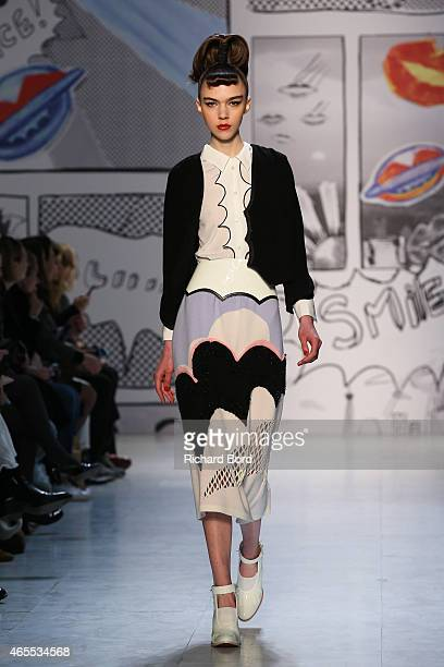 A model walks the runway during the Tsumori Chisato show as part of the Paris Fashion Week Womenswear Fall/Winter 2015/2016 at Palais des Beaux Arts...