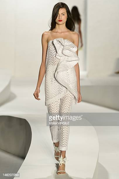 A model walks the runway during the Tufi Duek show as part of the Sao Paulo Fashion Week Spring/Summer 2013 on June 11 2012 in Sao Paulo Brazil
