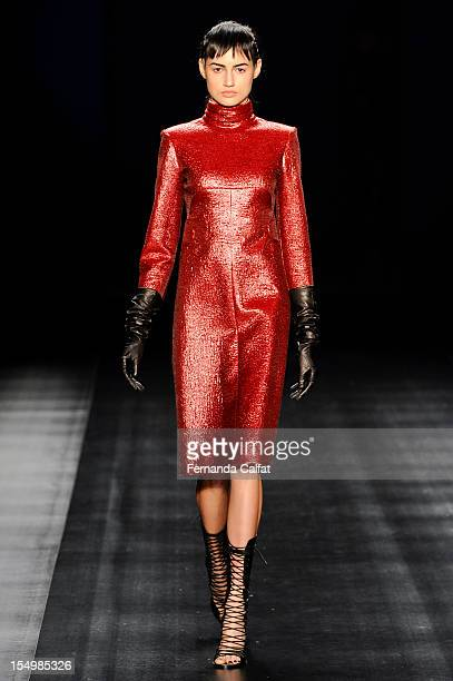 A model walks the runway during the Tufi Duek show at Sao Paulo Fashion Week on October 29 2012 in Sao Paulo Brazil