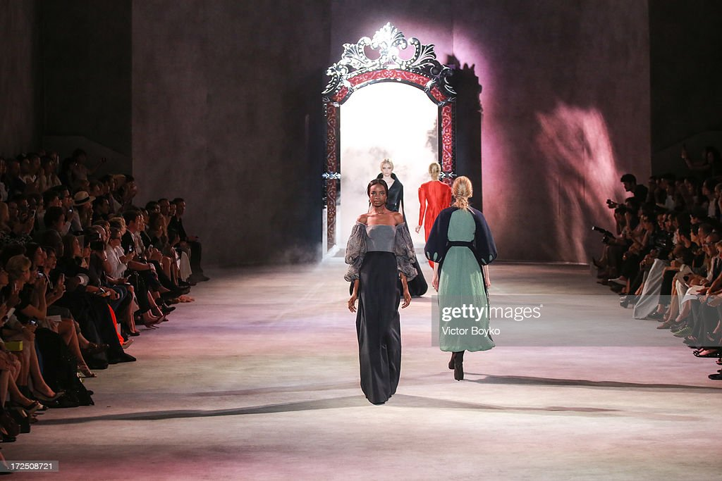 A model walks the runway during the Ulyana Sergeenko show as part of Paris Fashion Week Haute-Couture Fall/Winter 2013-2014 at on July 2, 2013 in Paris, France.