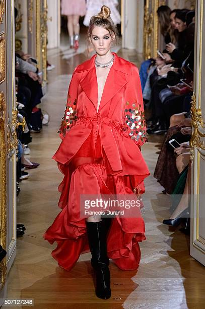 A model walks the runway during the Ulyana Sergeenko Spring Summer 2016 show as part of Paris Fashion Week on January 27 2016 in Paris France