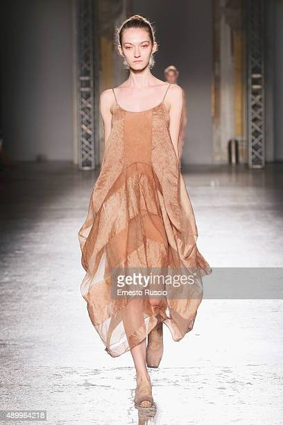 A model walks the runway during the Uma Wang fashion show as part of Milan Fashion Week Spring/Summer 2016 on September 25 2015 in Milan Italy