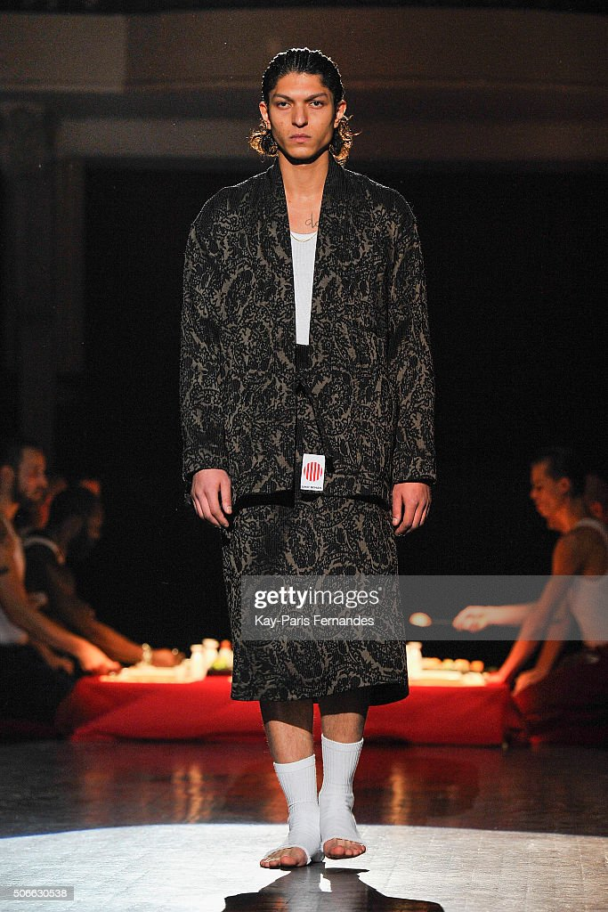 A model walks the runway during the Umit Benan Menswear Fall/Winter 2016-2017 show as part of Paris Fashion Week on January 24, 2016 in Paris, France.