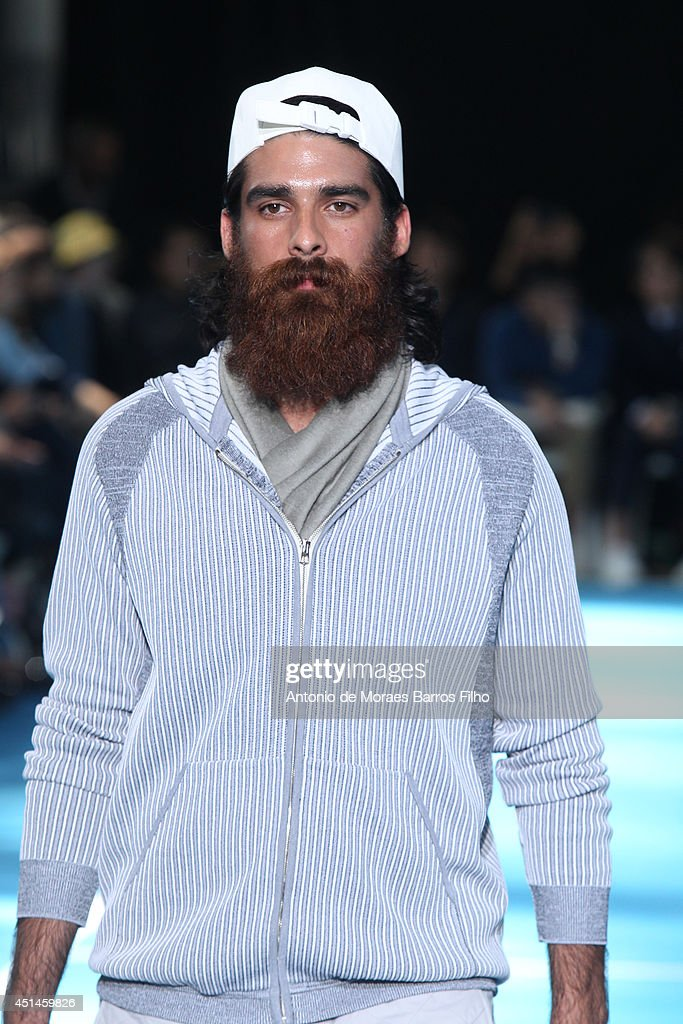 A model walks the runway during the Umit Benan show as part of the Paris Fashion Week Menswear Spring/Summer 2015 on June 29, 2014 in Paris, France.
