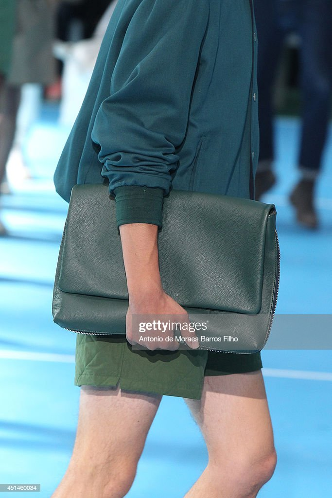 A model walks the runway (detail) during the Umit Benan show as part of the Paris Fashion Week Menswear Spring/Summer 2015 on June 29, 2014 in Paris, France.