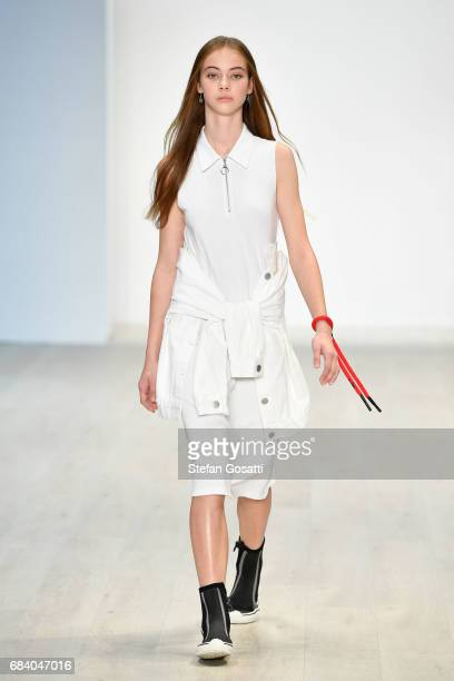 A model walks the runway during the Vale Denim show at MercedesBenz Fashion Week Resort 18 Collections at Carriageworks on May 17 2017 in Sydney...