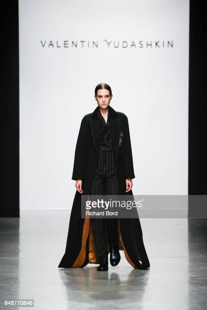 A model walks the runway during the Valentin Yudashkin show at Palais de Tokyo as part of the Paris Fashion Week Womenswear Fall/Winter 2017/2018 on...