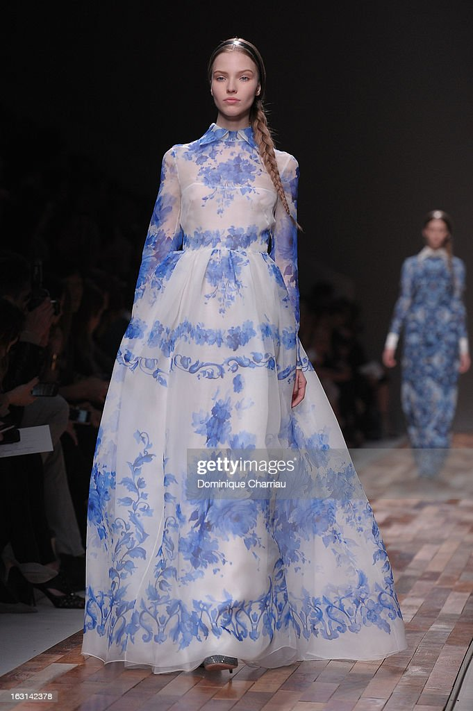 A model walks the runway during the Valentino Fall/Winter 2013 Ready-to-Wear show as part of Paris Fashion Week on March 5, 2013 in Paris, France.