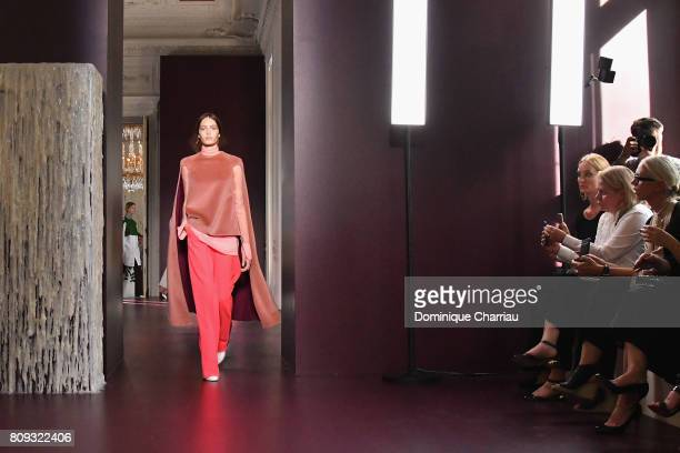 A model walks the runway during the Valentino Haute Couture Fall/Winter 20172018 show as part of Haute Couture Paris Fashion Week on July 5 2017 in...