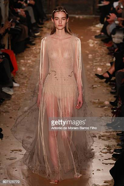 A model walks the runway during the Valentino Haute Couture Spring Summer 2016 show as part of Paris Fashion Week on January 27 2016 in Paris France