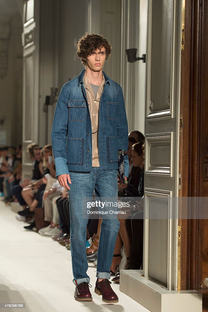A model walks the runway during the Valentino Menswear Spring/Summer 2016 show as part of Paris Fashion Week on June 24 2015 in Paris France