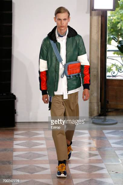 A model walks the runway during the Valentino Menswear Spring/Summer 2018 show as part of Paris Fashion Week on June 21 2017 in Paris France