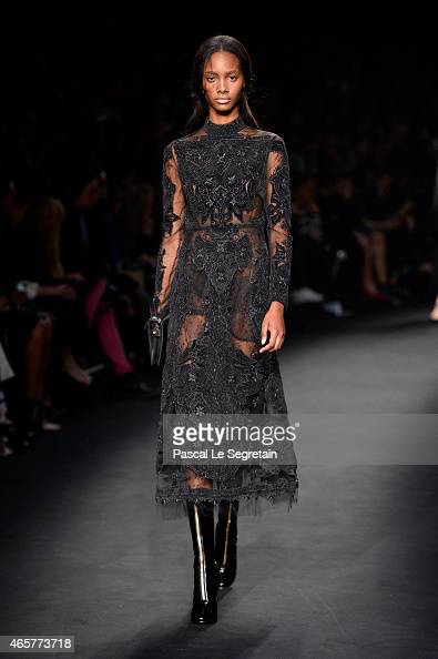 A model walks the runway during the Valentino show as part of the Paris Fashion Week Womenswear Fall/Winter 2015/2016 on March 10 2015 in Paris France