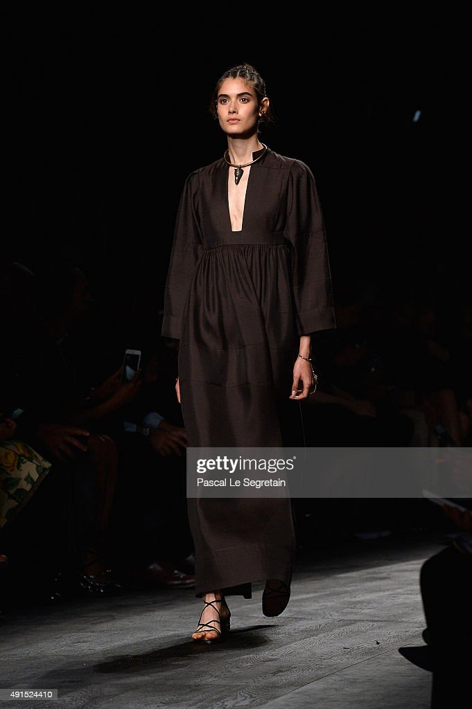 A model walks the runway during the Valentino show as part of the Paris Fashion Week Womenswear Spring/Summer 2016 on October 6 2015 in Paris France