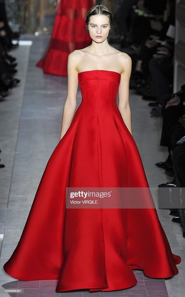 A model walks the runway during the Valentino Spring/Summer 2013 Haute-Couture show as part of Paris Fashion Week at Hotel Salomon de Rothschild on January 23, 2013 in Paris, France.