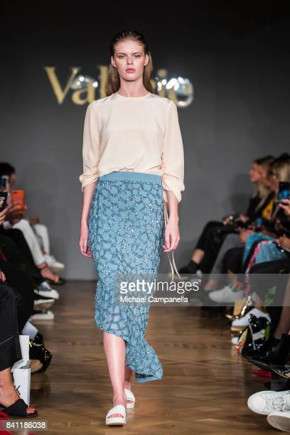 A model walks the runway during the Valerie show on second day of Stockholm Fashion Week Spring/Summer 18 at Grand Hotel on August 30 2017 in...