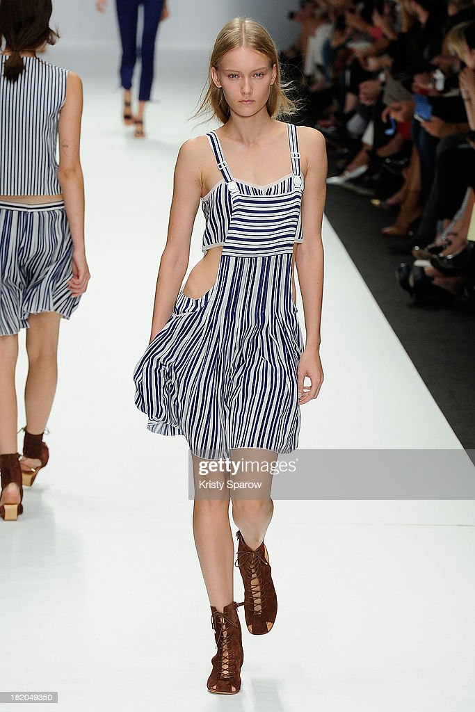 A model walks the runway during the Vanessa Bruno show as part of Paris Fashion Week Womenswear Spring/Summer 2014 on September 27, 2013 in Paris, France.