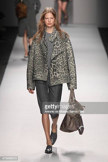 A model walks the runway during the Vanessa Bruno show as part of the Paris Fashion Week Womenswear Fall/Winter 20142015 on February 28 2014 in Paris...