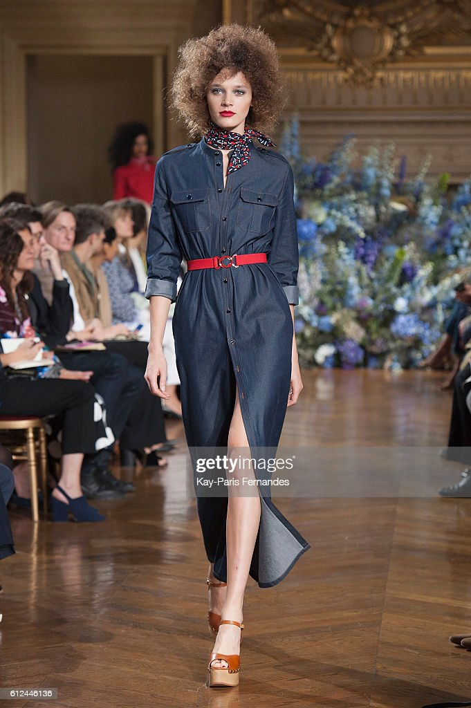 model-walks-the-runway-during-the-vanessa-seward-fashion-show-as-part-picture-id612446136