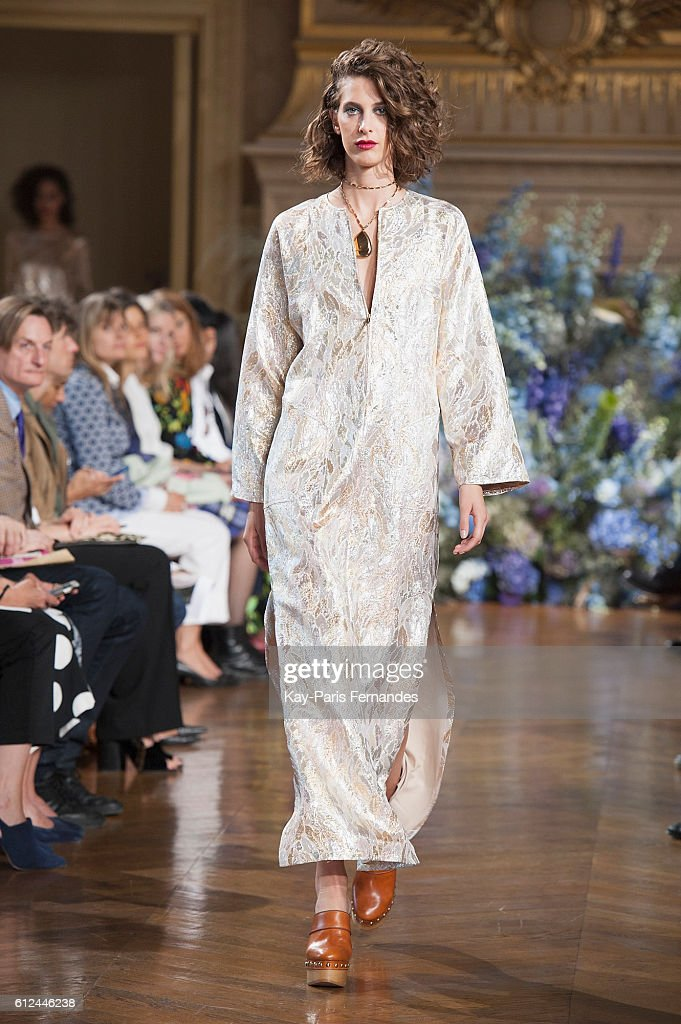 model-walks-the-runway-during-the-vanessa-seward-fashion-show-as-part-picture-id612446238