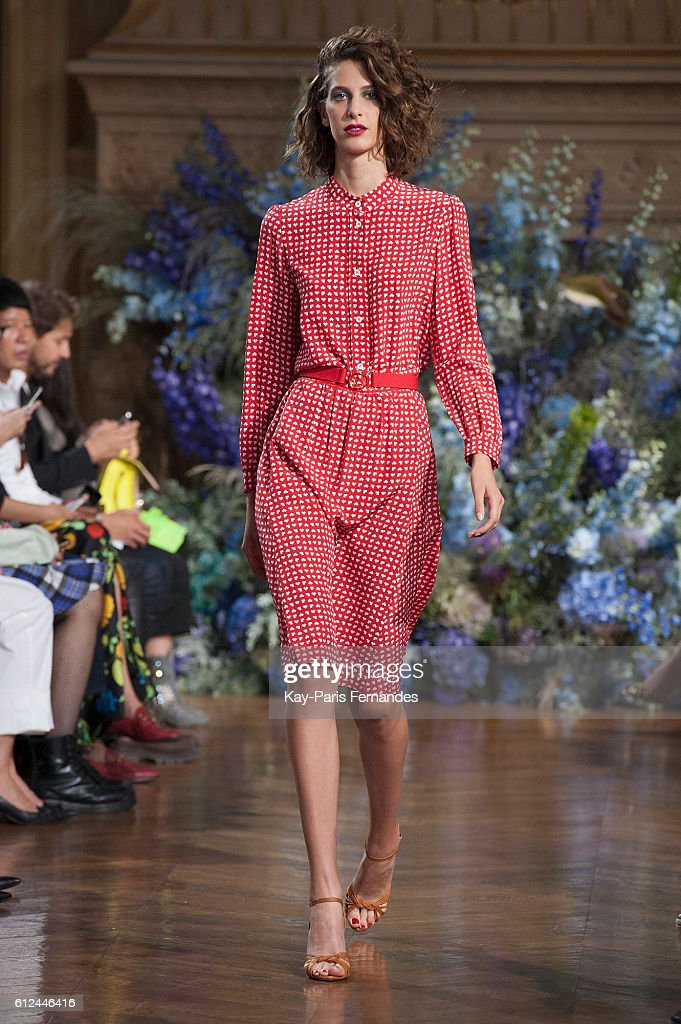 model-walks-the-runway-during-the-vanessa-seward-fashion-show-as-part-picture-id612446416