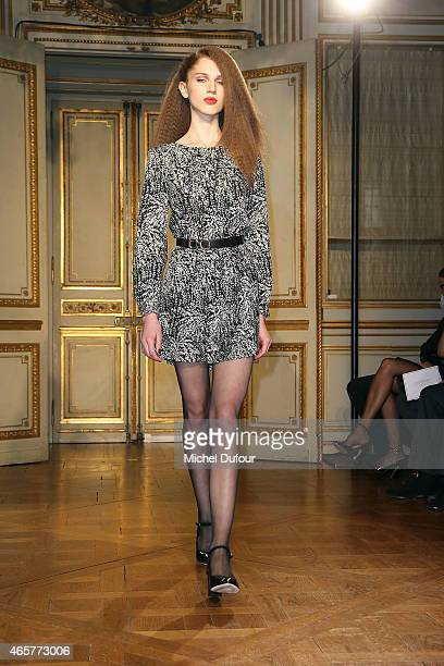 A model walks the runway during the Vanessa Seward show as part of the Paris Fashion Week Womenswear Fall/Winter 2015/2016 on March 10 2015 in Paris...