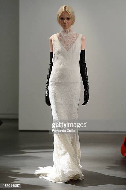 A model walks the runway during the Vera Wang 2014 Bridal Spring/Summer collection show on April 19 2013 in New York City