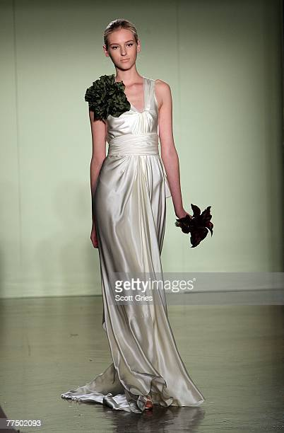 A model walks the runway during the Vera Wang bridal collection show held at the Ukrainian Institute October 25 2007 in New York City