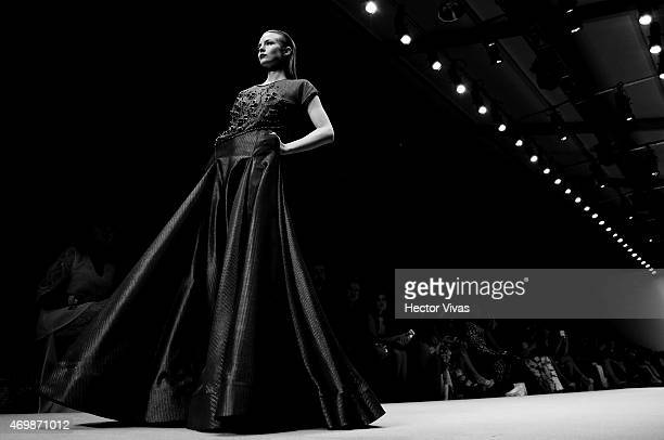 A model walks the runway during the Vero Diaz Show as part of MercedesBenz Fashion Week Mexico Fall/Winter 2015 day 2 at Campo Marte on April 15 2015...