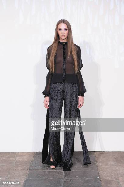 A model walks the runway during the Vero Diaz show at MercedesBenz Fashion Week Mexico Autumn/Winter 2017 at Ex Convento De San Hipolito on April 25...