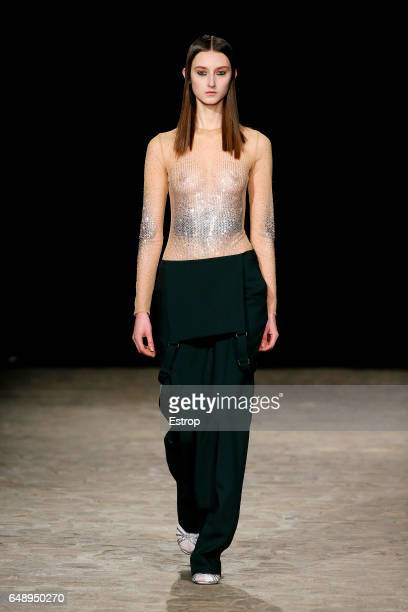 A model walks the runway during the Veronique Branquinho show as part of the Paris Fashion Week Womenswear Fall/Winter 2017/2018 on March 6 2017 in...