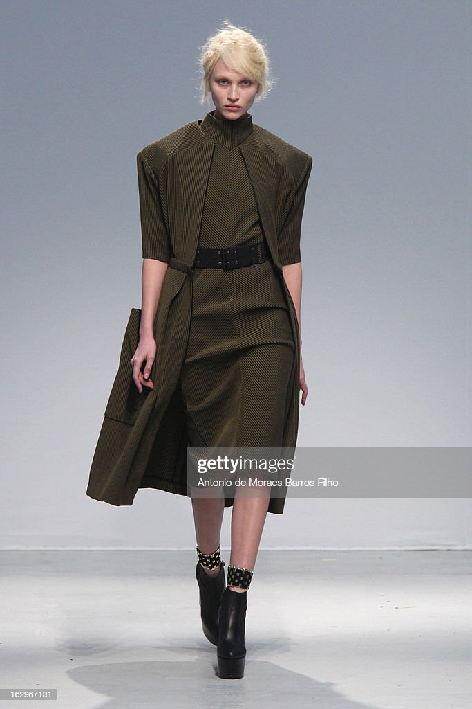 A model walks the runway during the Veronique Leroy Fall/Winter 2013 ReadytoWear show as part of Paris Fashion Week on March 2 2013 in Paris France