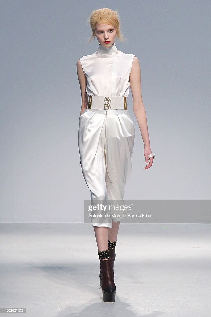 A model walks the runway during the Veronique Leroy Fall/Winter 2013 Ready-to-Wear show as part of Paris Fashion Week on March 2, 2013 in Paris, France.