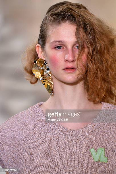 A model walks the runway during the Veronique Leroy Ready to Wear Spring/Summer fashion show as part of the Paris Fashion Week Womenswear...