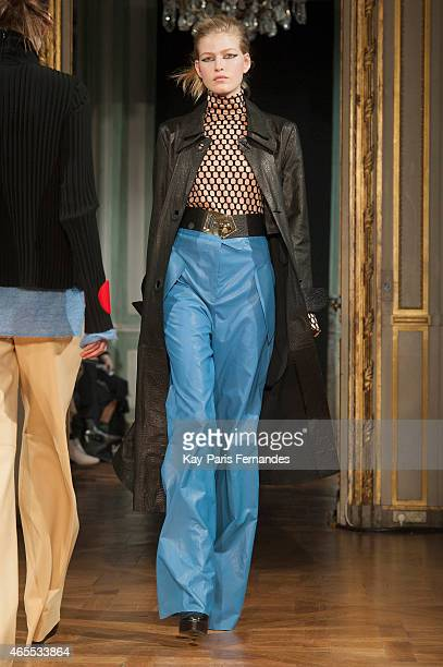 A model walks the runway during the Veronique Leroy show as part of Paris Fashion Week Womenswear Fall/Winter 2015/2016 on March 7 2015 in Paris...