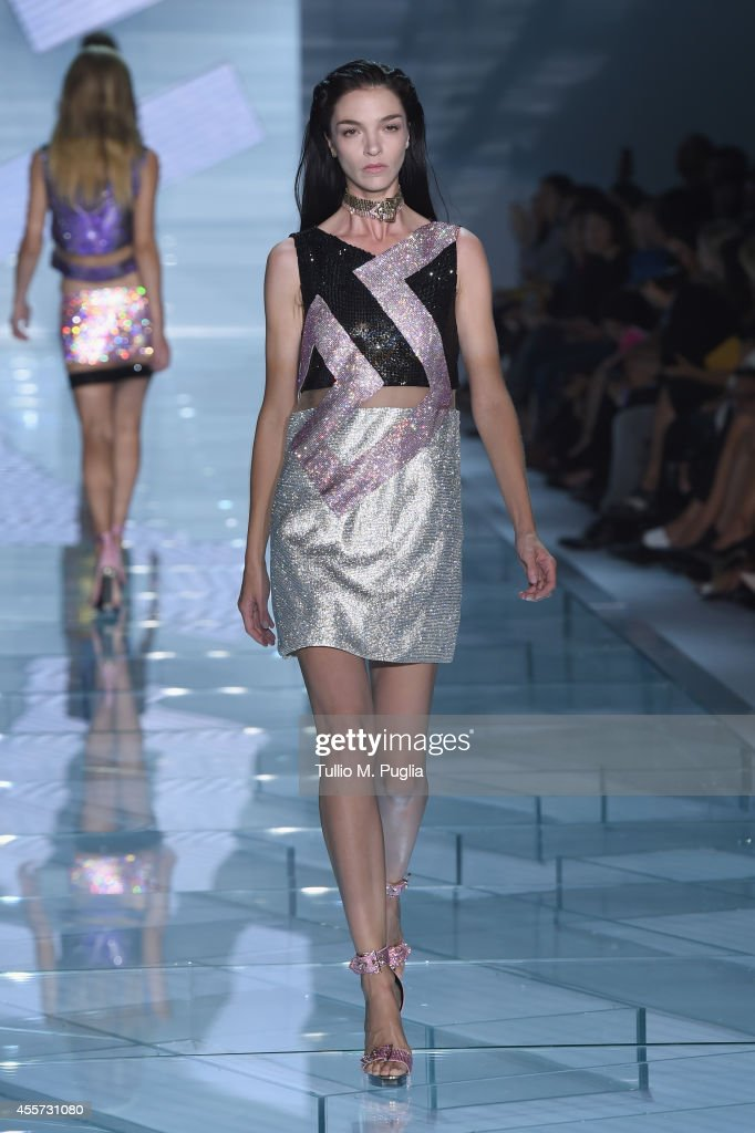 A model walks the runway during the Versace show as a part of Milan Fashion Week Womenswear Spring/Summer 2015 on September 19, 2014 in Milan, Italy.