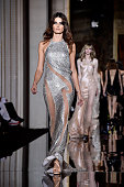 A model walks the runway during the Versace show as part of Paris Fashion Week Haute Couture Spring/Summer 2015 on January 25 2015 in Paris France
