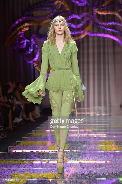 A model walks the runway during the Versace show as part of Paris Fashion Week Haute Couture Fall/Winter 2015/2016 on July 5 2015 in Paris France