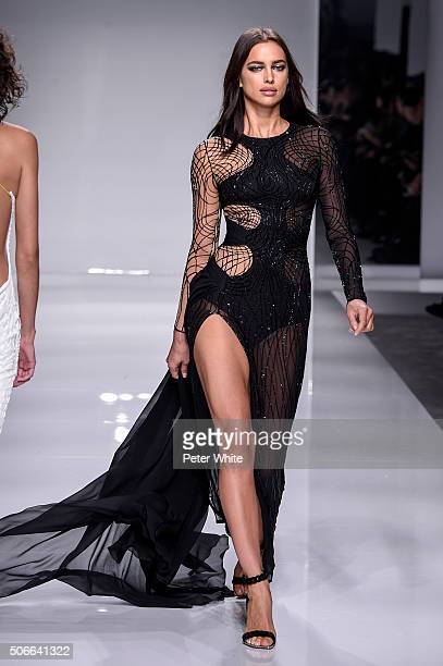 A model walks the runway during the Versace Spring Summer 2016 show as part of Paris Fashion Week on January 24 2016 in Paris France