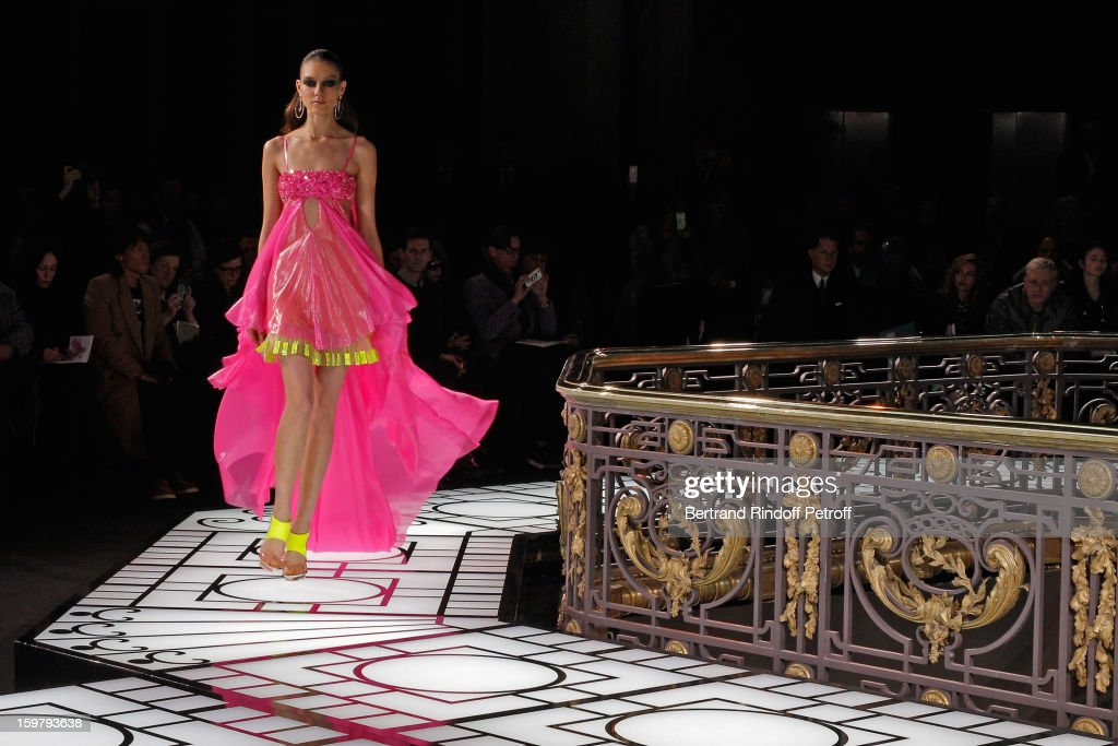 A model walks the runway during the Versace Spring/Summer 2013 Haute-Couture show as part of Paris Fashion Week at Le Centorial on January 20, 2013 in Paris, France.