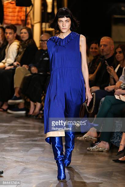 A model walks the runway during the Vetements Haute Couture Fall/Winter 20162017 show as part of Paris Fashion Week on July 3 2016 in Paris France