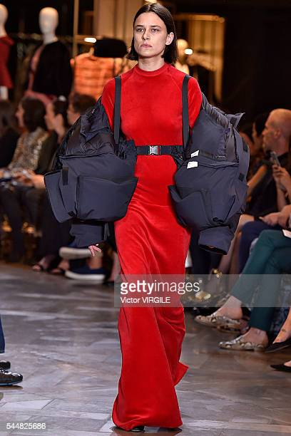 A model walks the runway during the Vetements Ready to Wear Spring/Summer 2017 show as part of Paris Fashion Week on July 3 2016 in Paris France