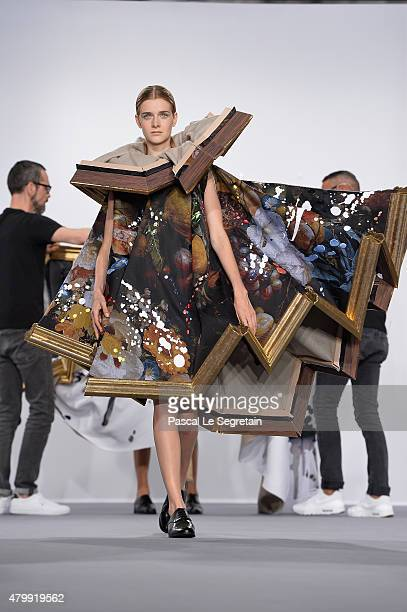 A model walks the runway during the Viktor Rolf show as part of Paris Fashion Week Haute Couture Fall/Winter 2015/2016 on July 8 2015 in Paris France