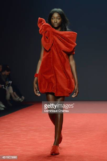 A model walks the runway during the ViktorRolf show as part of Paris Fashion Week Haute Couture Fall/Winter 20142015 at La Gaite Lyrique on July 9...