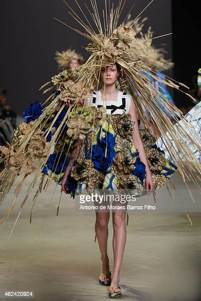 A model walks the runway during the ViktorRolf show as part of Paris Fashion Week Haute Couture Spring/Summer 2015 on January 28 2015 in Paris France