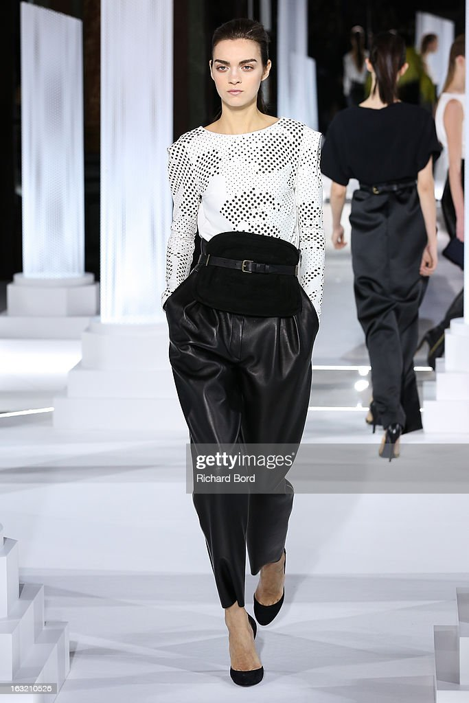 A model walks the runway during the Vionnet Fall/Winter 2013 Ready-to-Wear show as part of Paris Fashion Week at Intercontinental Paris Le Grand Hotel on March 6, 2013 in Paris, France.