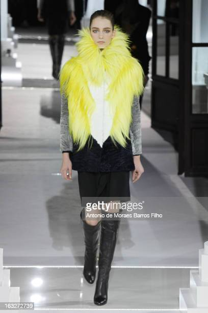 A model walks the runway during the Vionnet Fall/Winter 2013 ReadytoWear show as part of Paris Fashion Week on March 6 2013 in Paris France