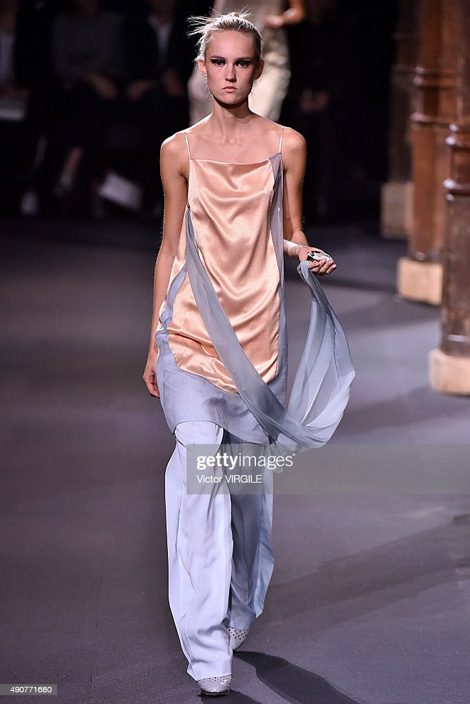 A model walks the runway during the Vionnet Ready to Wear show as part of the Paris Fashion Week Womenswear Spring/Summer 2016 on September 30 2015...