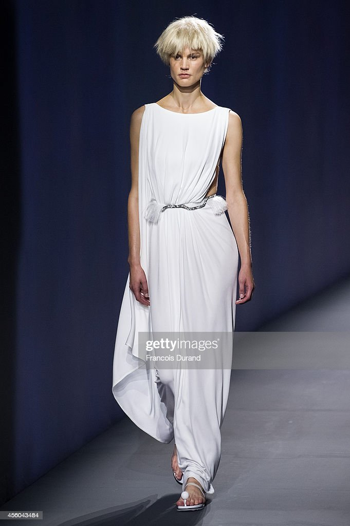 A model walks the runway during the Vionnet show as part of the Paris Fashion Week Womenswear Spring/Summer 2015 on September 24 2014 in Paris France