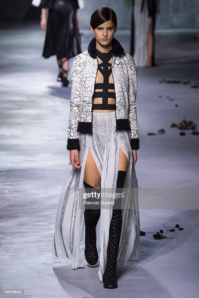 A model walks the runway during the Vionnet show as part of the Paris Fashion Week Womenswear Fall/Winter 2015/2016 on March 4 2015 in Paris France